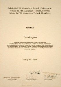 Gusztos Éva Alexander-technika tanári diploma